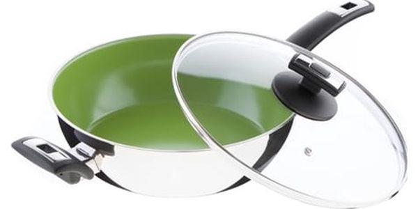 KOLIMAX CERAMMAX PRO COMFORT pánev 26 cm s rukojetí a úchytem, se skleněnou poklicí, vysoká, zelená