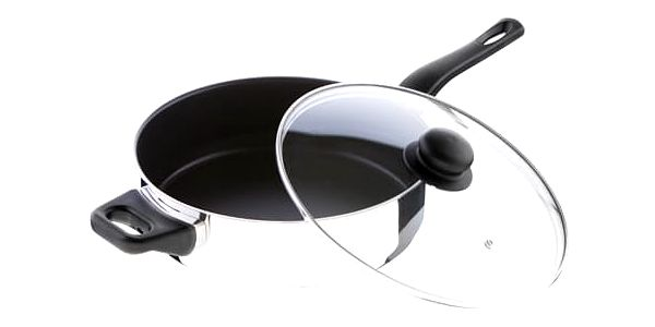 KOLIMAX FLONAX STANDARD pánev 26 cm s rukojetí a úchytem, se skleněnou poklicí, vysoká, ULTIMATE, černá