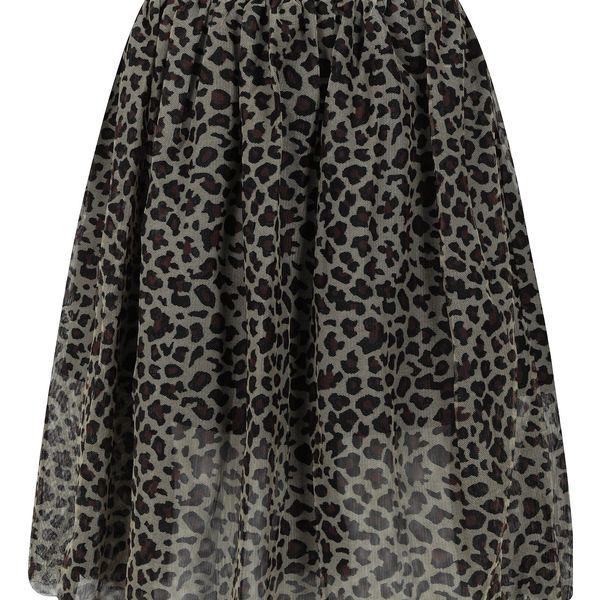 Khaki holčičí tylová sukně s leopardím vzorem name it Reo