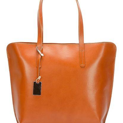 Koňakově hnědá kožená kabelka Giorgio Costa Gerogina - doprava zdarma!