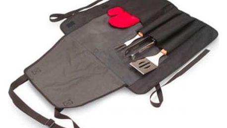 BBQ 3v1 - zástěra, rukavice a nářadí na grilování - buďte mistry grilu!