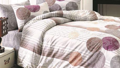 Night in Colours Bavlněné povlečení Kamelya tmavě fialová, 140 x 200 cm, 70 x 90 cm