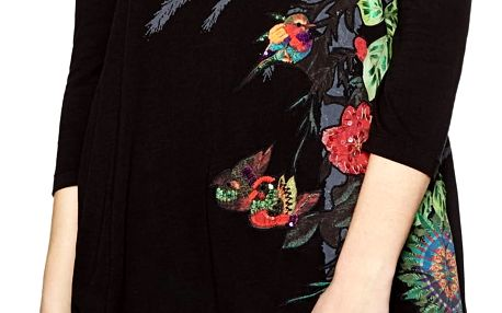 Desigual černé tričko Charlotte s barevnými motivy
