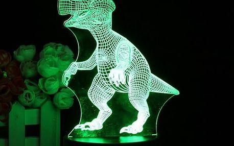 3D LED lampička - veselý dinosaurus