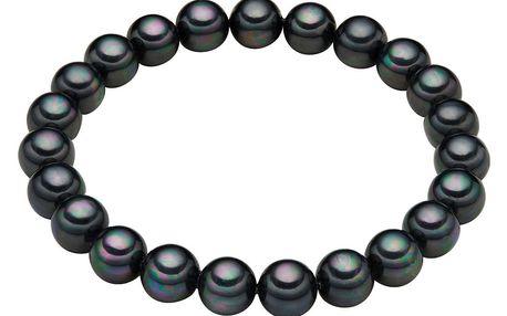Náramek s antracitově černými perlami Perldesse Muschel, ⌀0,8xdélka17cm - doprava zdarma!