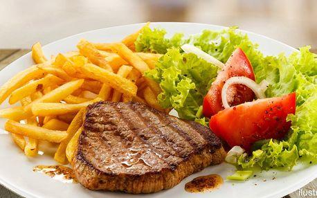 2× steak s volbou druhu masa, omáčky i přílohy