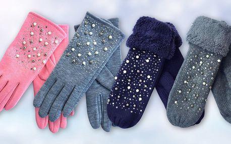 Dámské rukavice zdobené korálky