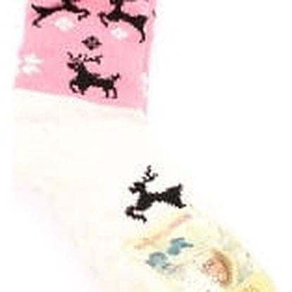 Dámské vyteplené ponožky pink DEER