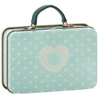 Maileg Plechový kufřík Mint Off-White Dots, modrá barva, zelená barva, kov