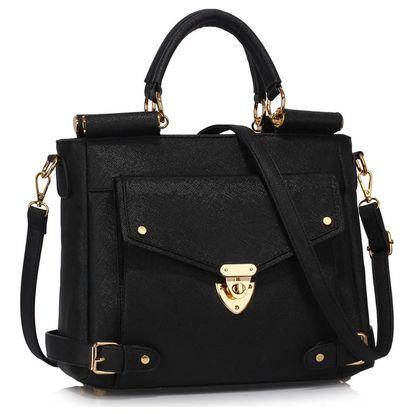 Černá kabelka z eko kůže L&S Bags Meudon - doprava zdarma!