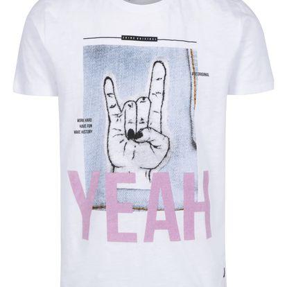 Bílé tričko s krátkým rukávem a sametovým nápisem Shine Original