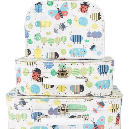 sass & belle Dětský papírový kufřík Busy bugs Velikost L, bílá barva, multi barva, papír