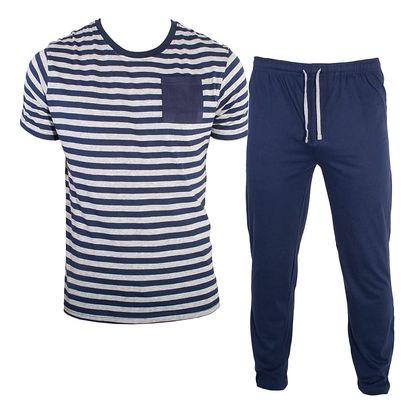 Pánské Dlouhé Pyžamo Molvy Modro Šedé Proužky XL