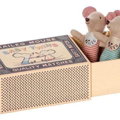 Maileg Myší miminka v krabičce Baby Twins, multi barva, papír, textil
