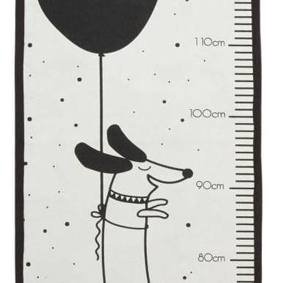 OYOY Nástěnný dětský metr s kapsou Hello World, béžová barva, černá barva, krémová barva, textil