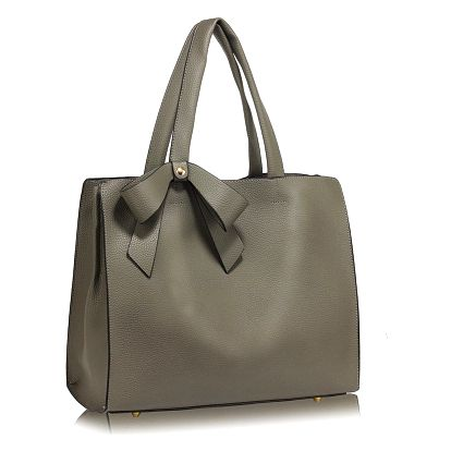 Šedá kabelka z eko kůže L&S Bags Bowtie - doprava zdarma!