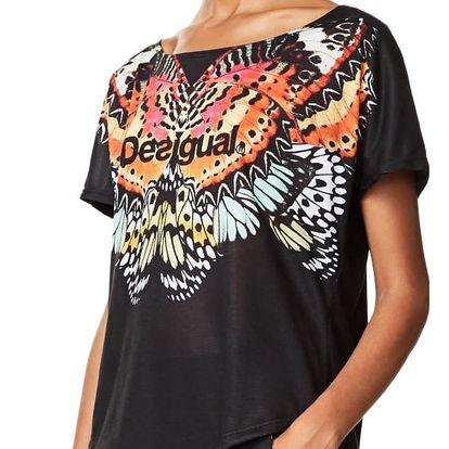 Desigual černé sportovní tričko Tee Oversize Metamorphosis