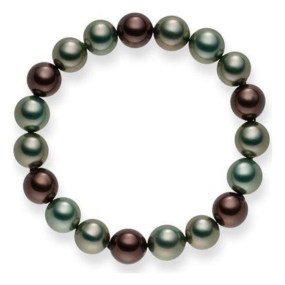 Perlový náramek Mystic Green Grey, 20 cm - doprava zdarma!