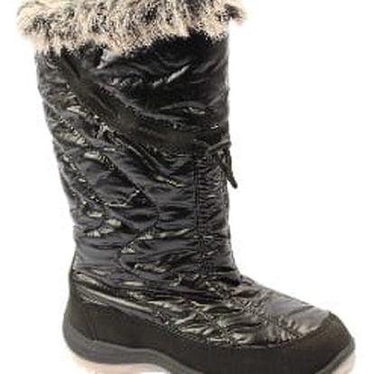 Kvalitní dámské sněhule s kožíškem černé