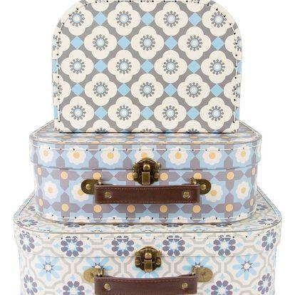 sass & belle Papírový kufřík Mosaic Velikost L, modrá barva, šedá barva, papír