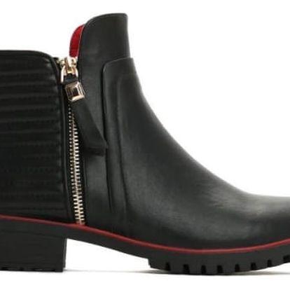 Dámské černé lesklé kotníkové boty Jersey 2129