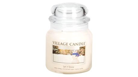 VILLAGE CANDLE Svíčka ve skle Let it Snow - střední, krémová barva, sklo, vosk