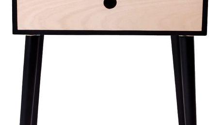 Noční stolek ze dřeva pavlovnie s černým rámem House Nordic Rimini - doprava zdarma!