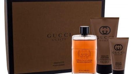 Gucci Guilty Absolute Pour Homme dárková kazeta pro muže parfémovaná voda 90 ml + balzám po holení 50 ml + sprchový gel 150 ml