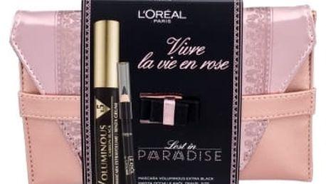 L´Oréal Paris Volumissime x5 dárková kazeta pro ženy řasenka 7,5 ml + tužka na oči Le Khol 1 g 101 Midnight Black + psaníčko