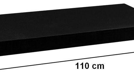 STILISTA 31073 Nástěnná police VOLATO - matná černá 110 cm
