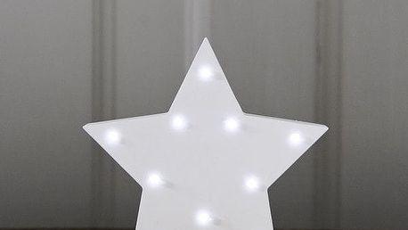 Smiling Faces Svítící LED hvězda, bílá barva, dřevo (slevový kód JEZISEK24 na -24 %)