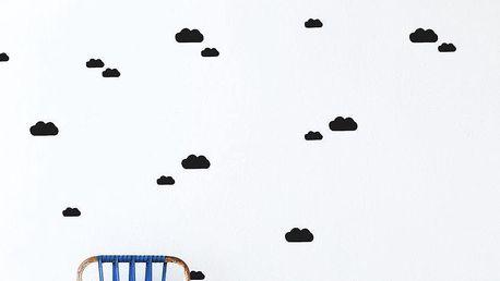 ferm LIVING Interiérové samolepky Black Clouds, černá barva, papír
