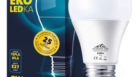 Žárovka LED ETA EKO LEDka klasik, 8W, E27, teplá bílá (A60-PR-638-16A)