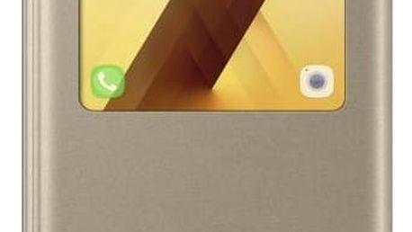 Pouzdro na mobil flipové Samsung S-View pro Galaxy A5 2017 (EF-CA520P) (EF-CA520PFEGWW) zlaté + Doprava zdarma