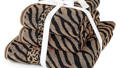 Jahu Sada ručníků a osušky Zebra hnědá