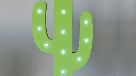 Smiling Faces Svítící zelený LED kaktus, zelená barva, dřevo