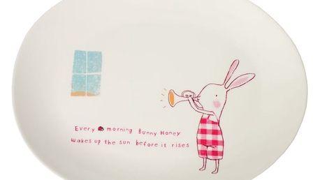 Maileg Talířek Bunny Honey, červená barva, béžová barva, melamin