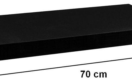 STILISTA 31051 Nástěnná police VOLATO - matná černá 70 cm