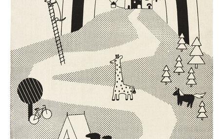 OYOY Dětský koberec Mr. Megalodon adventure, šedá barva, bílá barva, textil
