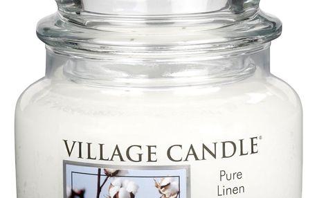 VILLAGE CANDLE Svíčka ve skle Pure linen - malá, béžová barva, sklo