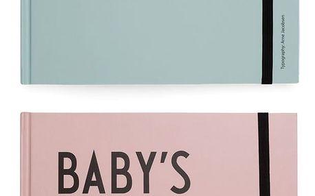 DESIGN LETTERS Deník miminka Baby's First Book Mentolová, růžová barva, zelená barva