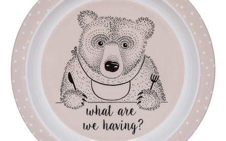 Bloomingville Melaminový talířek pro děti Nelly, růžová barva, melamin