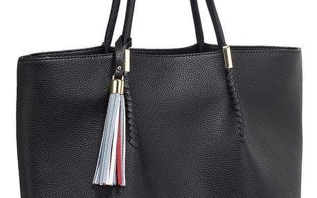 Černá kabelka z eko kůže L&S Bags Tassel - doprava zdarma!