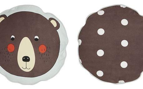 OYOY Kulatý polštářek Bear, hnědá barva, textil