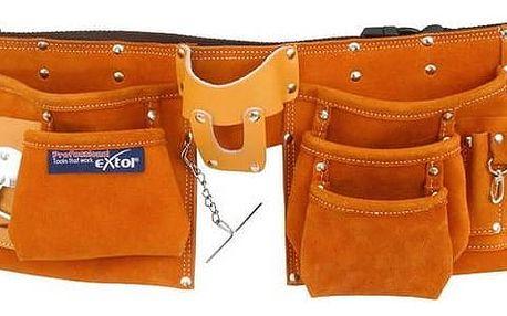 Pás na nářadí EXTOL PREMIUM 420 kožený, 9 kapes (2 velké, 3 střední, 4 malé), držák na kladivo, poutko na klíče, kapsa na svinovací metr
