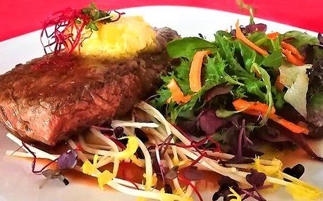 Panenka nebo hovězí rump steak s přílohou