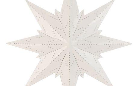 STAR TRADING Plechová minihvězda White Dot, bílá barva, kov