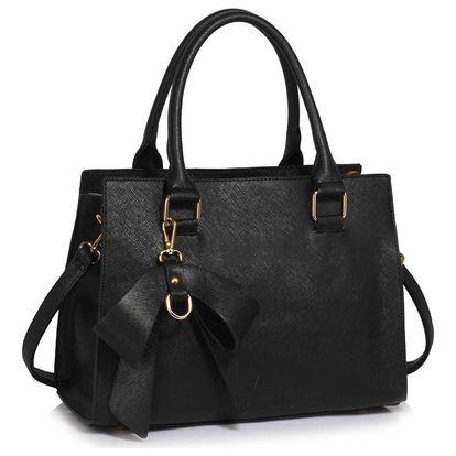 Černá kabelka z eko kůže L&S Bags Bowcharm