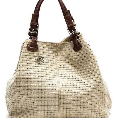 Béžová kožená kabelka Isabella Rhea 858 - doprava zdarma!