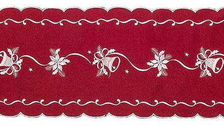Forbyt Vánoční ubrus Zvonky červená, 35 x 160 cm, 35 x 160 cm